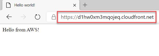 Machine generated alternative text:Hello world!CDHello from AWS!https://d 1 hw0xm3mqojeq.cloudfront.net